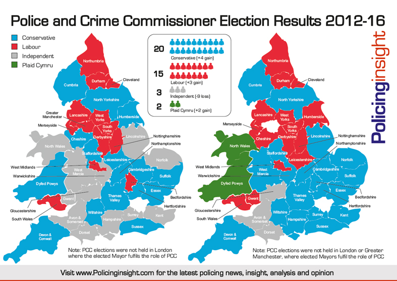 PCC Election Results Map 2016 v 2012