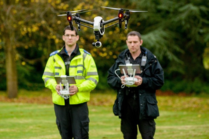 Police demonstration of use of drones