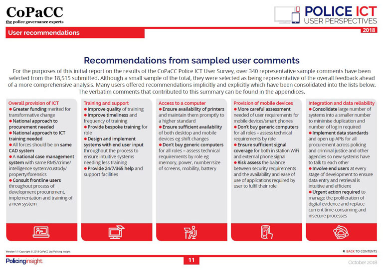 User recommendations - CoPaCC Police ICT: User Perspectives