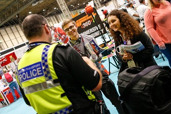 Visitors talking to British Transport police