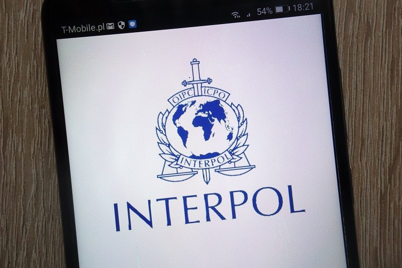 mobile phone showin interpol page