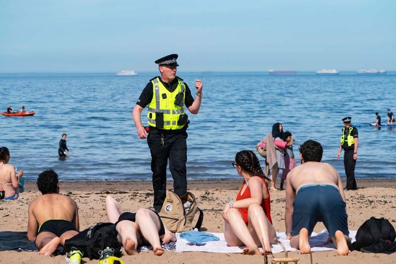 Policing beach in lockdown